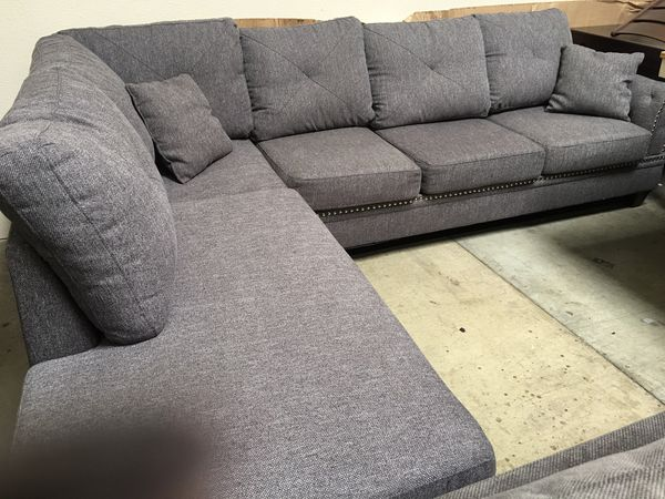 NEW Grey sectional sofa reversible chaise nailhead trim upgrade fabric $650  for Sale in Chino, CA - OfferUp