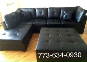 Black leather sectional sofa couch!!Brand new free delivery for Sale in Chicago, IL