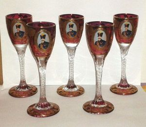 Rare Nasser al-Din Shah Qajar Persian Czar Crystal Cognac Glasses for Sale in Silver Spring, MD