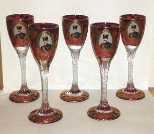 Rare Nasser al-Din Shah Qajar Persian Czar Crystal Cognac Glasses for Sale in Silver Spring, MD
