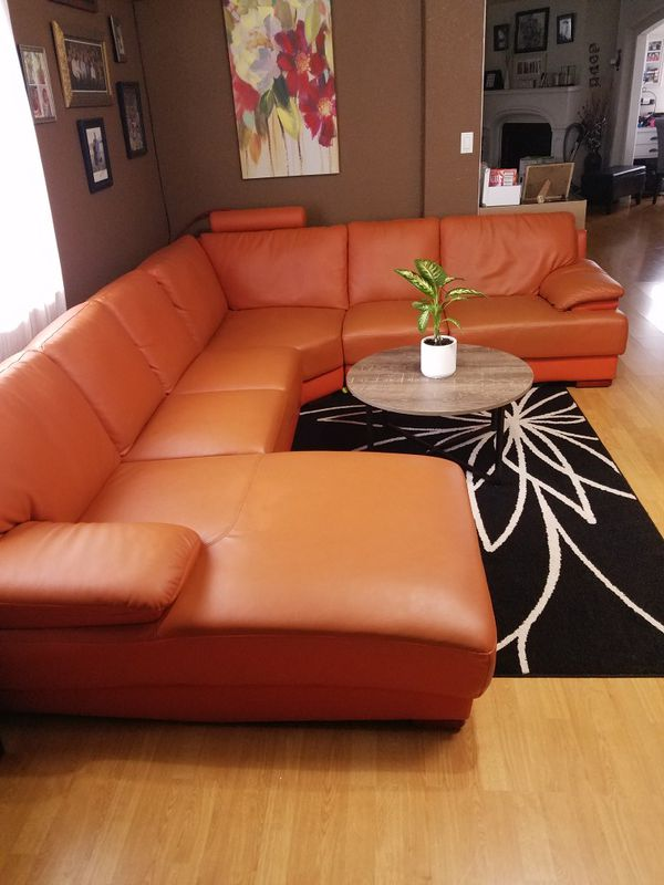Orange 4 piece leather sectional sofa couch for Sale in ...