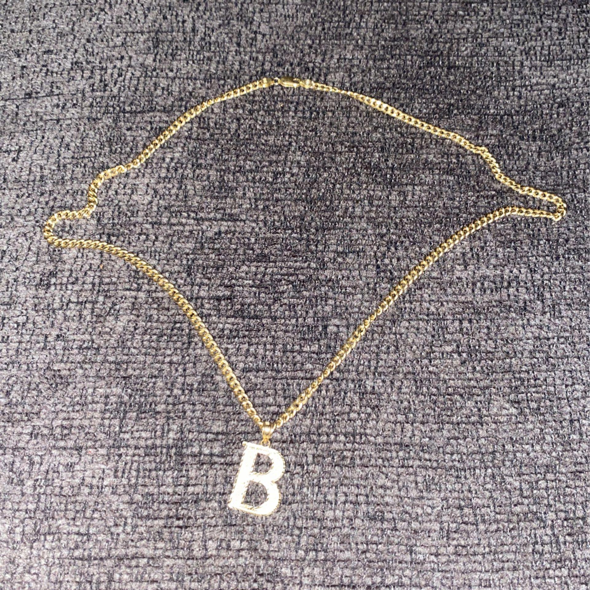 10k Cuban link    B Pendant