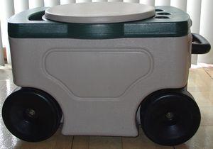 Photo Garden Rolling Seat Storage Box Cart