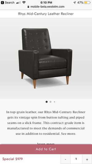 West Elm Rys Mid Century Leather Recliner for Sale in Seattle, WA