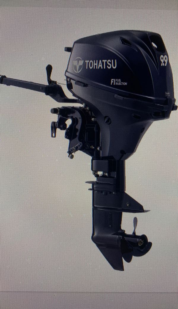 22020 tohatsu 9.9 hp electric start outboard motor fuel injected brand new still in the box
