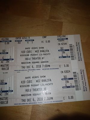 Bape heads tickets (kid Cudi) for Sale in New York, NY