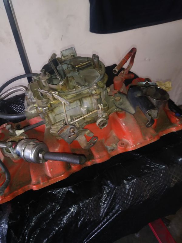 Edelbrock 4 barrel intake and a Quadrajet four barrel Chevy carburetor for  a 350 Chevy for Sale in Las Vegas, NV - OfferUp