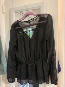 Express faux wrap tie front sheer blouse - M Thumbnail