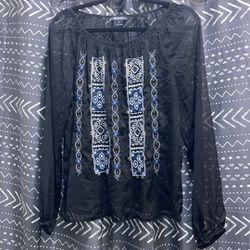 Lucky Brand Sheer Embroidered Top Thumbnail