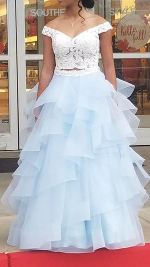 eb50b3fa425c White/Light Blue Off the Shoulder Two Piece Prom Dress. Size 6 worn once