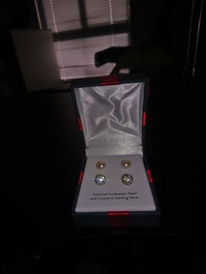 2 Pair Cultured Freshwater Pearl & Crystal Sterling Silver Earring Set for Sale in Fairfax, VA