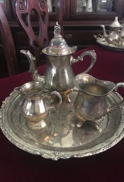 Miniature silver tea, and creamer set, will throw in salt and pepper shaker Thumbnail