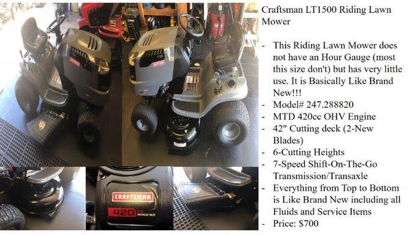Craftsman LT1500 Riding Lawn Mower for Sale in Sierra Vista, AZ - OfferUp