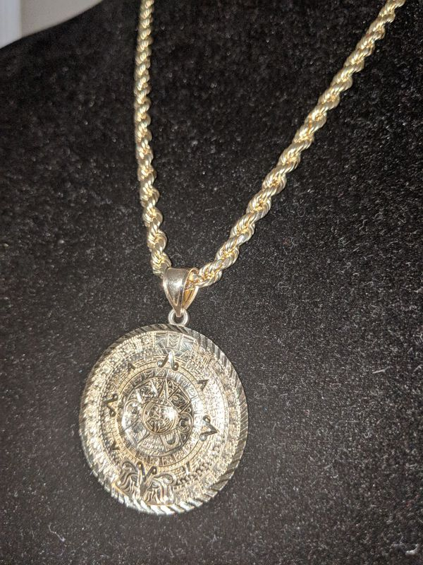 73bb40f933d29 4mm gold diamond cut rope with Aztec calendar real 10kt gold for Sale in  Mesa, AZ - OfferUp