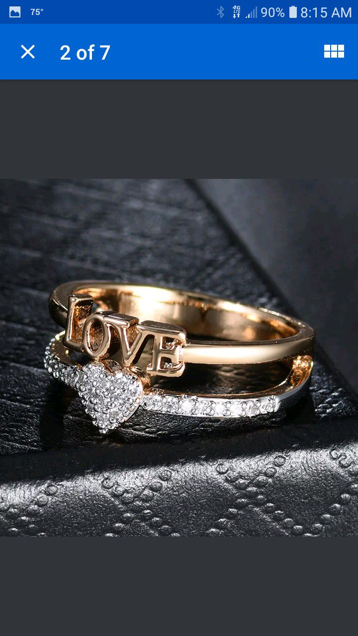 18 karat gold filled love and hearts sapphire ring size 7