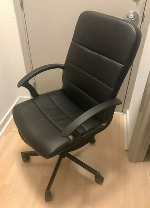$30 - Leather Office / Desk Chair on Wheels for Sale in Arlington, VA