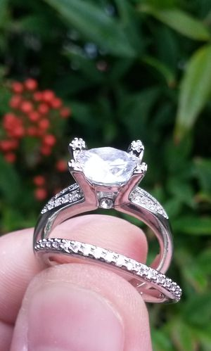925 Brilliant Cut CZ Wedding Engagement Ring Set Size 6 Stamped for Sale in Shelton, WA