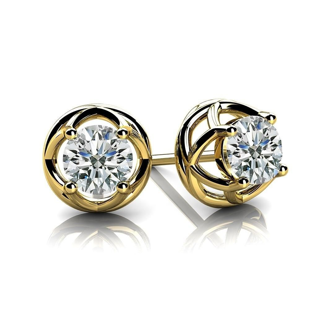 Round Cut Natural Diamond Stud Earrings In 10k Yellow Gold (0.7 Carat ,H-I SI2)