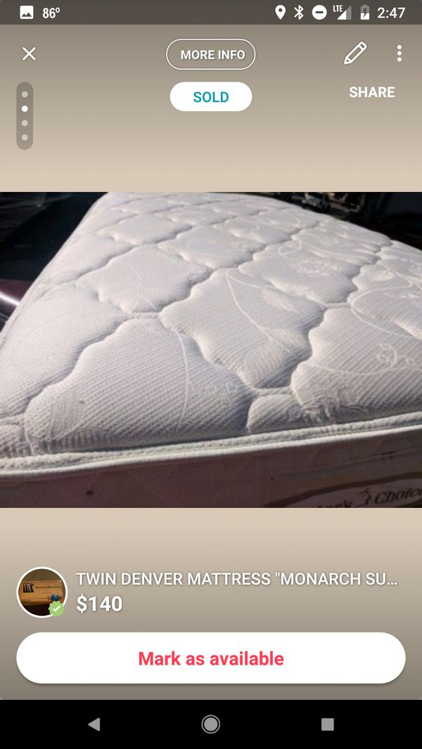 Twin Denver Mattress Monarch Supreme Plushtop Double Sided Includes Boxspring And Delivery