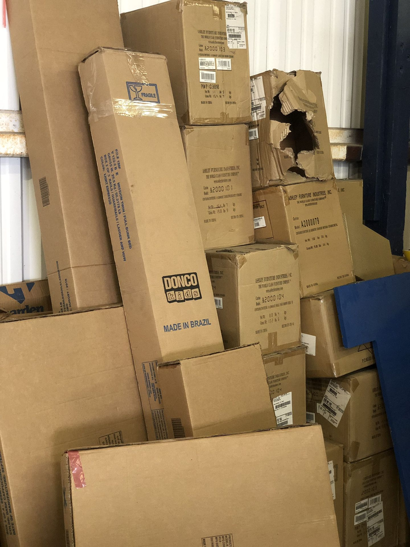 All new assorted furniture in boxes, must go first come only