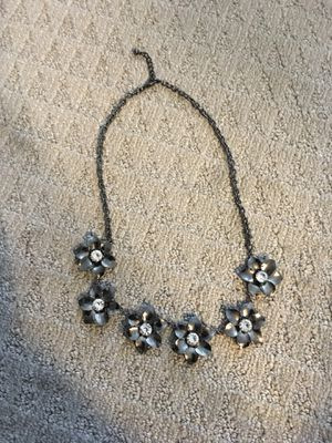 Dark Silver Flower Necklace with Faux Crystals, Statement Costume Jewelry for Sale in Los Angeles, CA