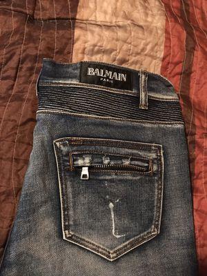 100% authentic Balmain distressed denim jeans sz 34 straight leg for Sale in Lake Ridge, VA