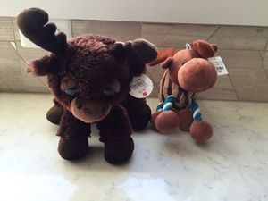 2 brand new stuffed moose toys-$6 total! for Sale in Charlottesville, VA