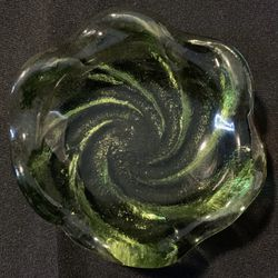 Pair of Heavy Vintage Glass Dishes (Soap Dishes?).   Thumbnail