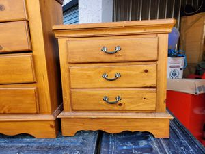 Photo Solid Pine Wood Dresser, End cabinet and Mirror. Willing to deliver for extra gas money.