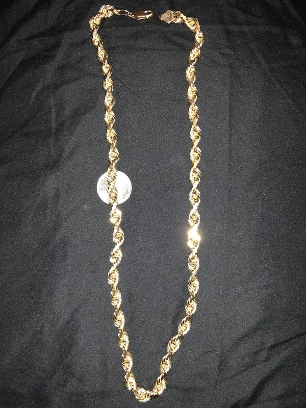14 K SOLID GOLD 8MM DIAMOND CUT HEAVY WEIGHT ROPE CHAIN BRAND NEW 26