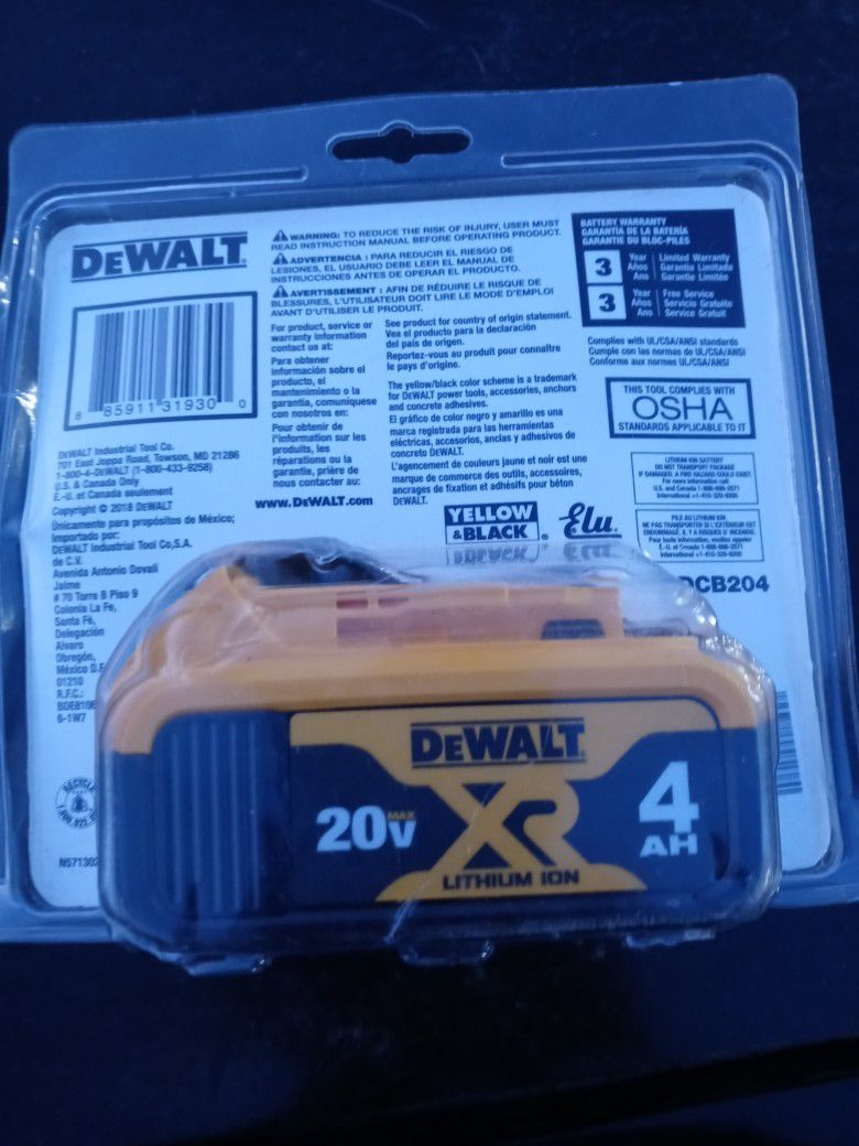 DeWalt 4 AH XR 20 Volt Battery