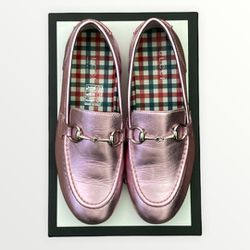 EUC Pink Gucci Metallic Horse Bit Loafer Size 31 Thumbnail