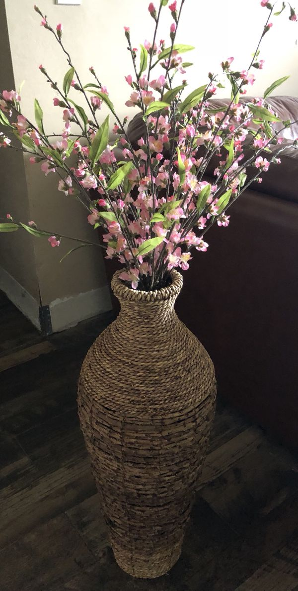 Beautiful Artificial Flower In Large Wicker Vase For Sale In Fort