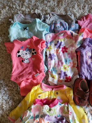 32 piece clothing for infant baby girl + a shoe for Sale in Silver Spring, MD
