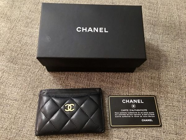 82a6e97e0e5 Chanel black lambskin quilted Gold cc logo credit card holder for ...