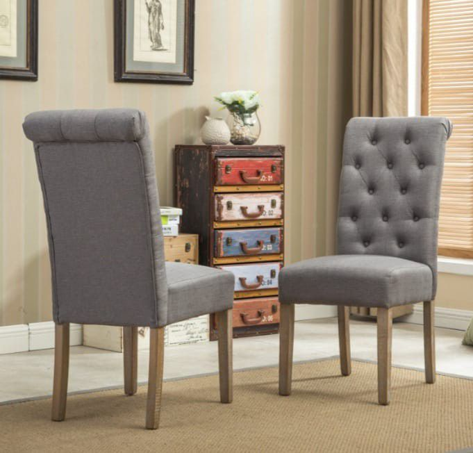 BRAND NEW  Roundhill Furniture Habit Solid Wood Tufted Parsons Dining Chair, Gray, Set of 2 Roundhill FurnitureModel: C161GY