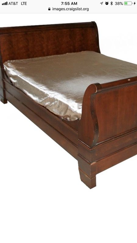 National Mt Airy Louis Philippe Dark Cherry King Sleigh Bed Very Solid And Heavy