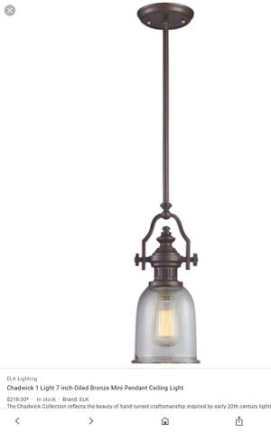 Photo Lk Lighting - 66761-1 - Chadwick - One Light Mini Pendant Oiled Bronze Finish with Clear Ribbed Glass