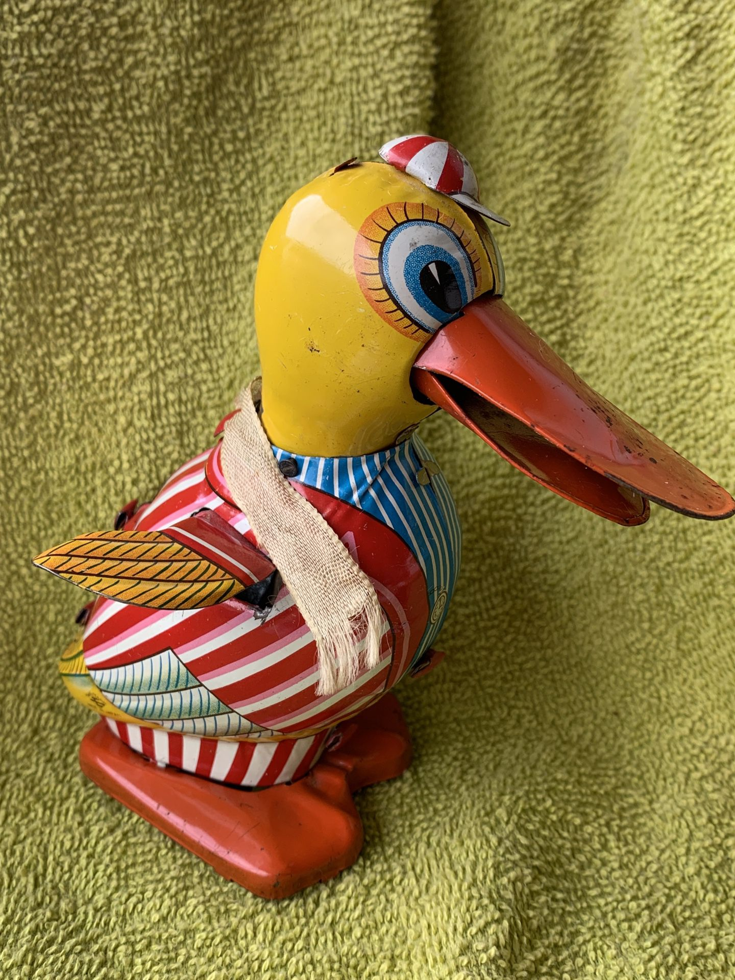 Rare 1940s Daito Tin Litho Friction Toy Duck Japan Nice Bright Colors
