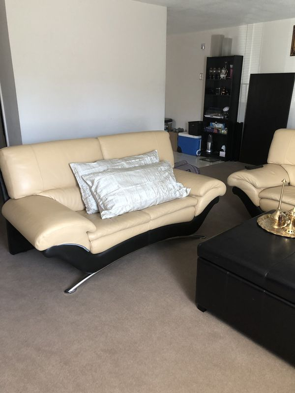 Leather sofa set with nice and big ottoman for Sale in Malden, MA ...