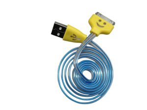Photo Smiley Micro USB Cable LED Light Up Color Change USB Data Sync Charging Cable with Colored Ends for Android