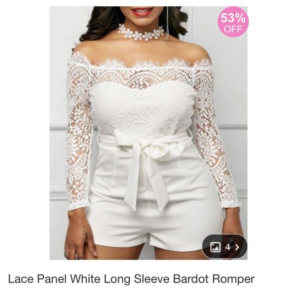 3f0e5b4c311 Brand New  Lace Panel White Long Sleeve Bardot Romper for Sale in Norfolk