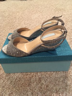 Silver Betsey Johnson wedge heels- great wedding shoes!!! for Sale in Boston, MA