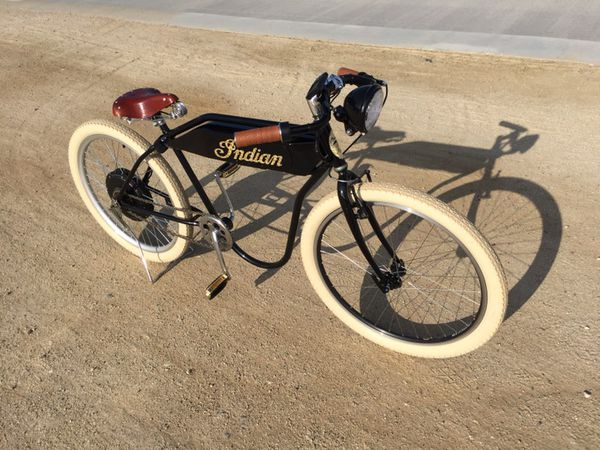 Custom Built Board Track Racer Electric Bicycle Vintage Indian Motorcycle EBike Cruiser FAST New 1200watt Motor 48volt Lithium Battery For Sale In Anaheim