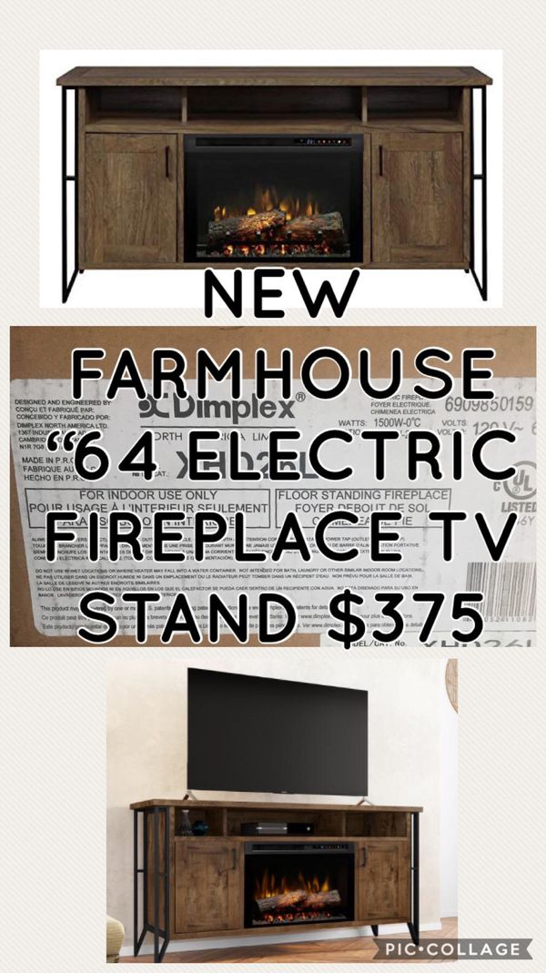 "NEW FARMHOUSE ""64 ELECTRIC FIREPLACE TV STAND CONSOLE ENTERTAINMENT ..."