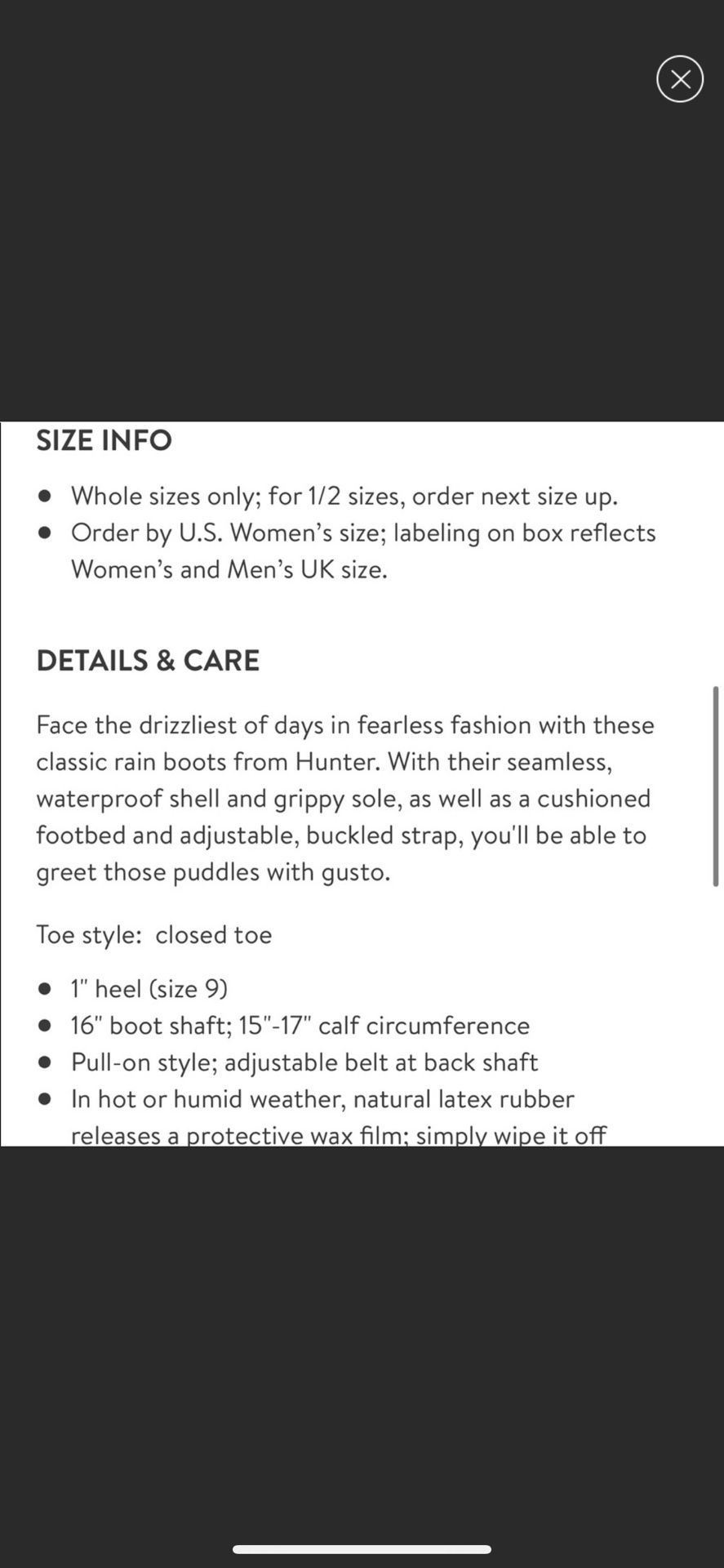 Hunter Rain Boots Matte Black 5 US Women's 4UK Authentic