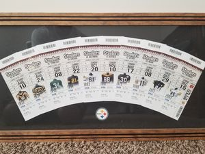 Steelers collectable homemade season tickets wood picture frame for Sale in Pittsburgh, PA