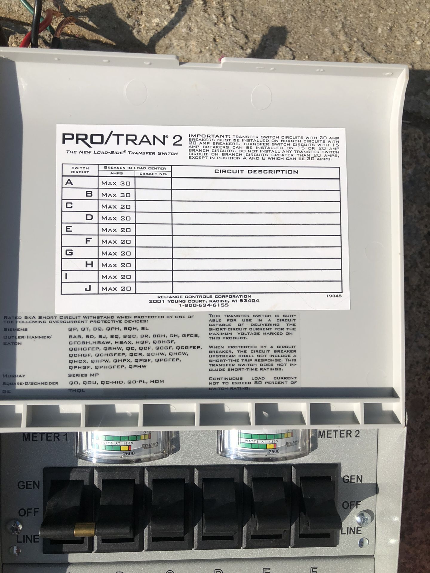 6 circuits Transfer switch and 10/3 cable for sale