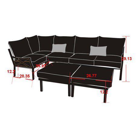 Mainstays Sandhill 7 Piece Outdoor Sofa Sectional Set Seats 5 Tan