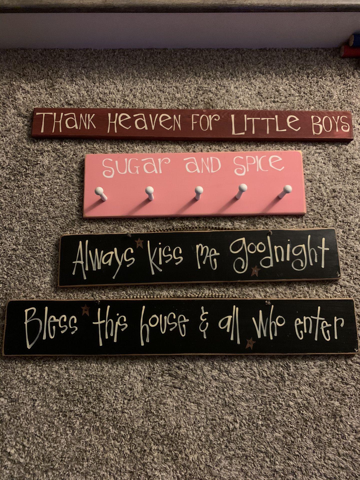 Wood signs & coat hanger